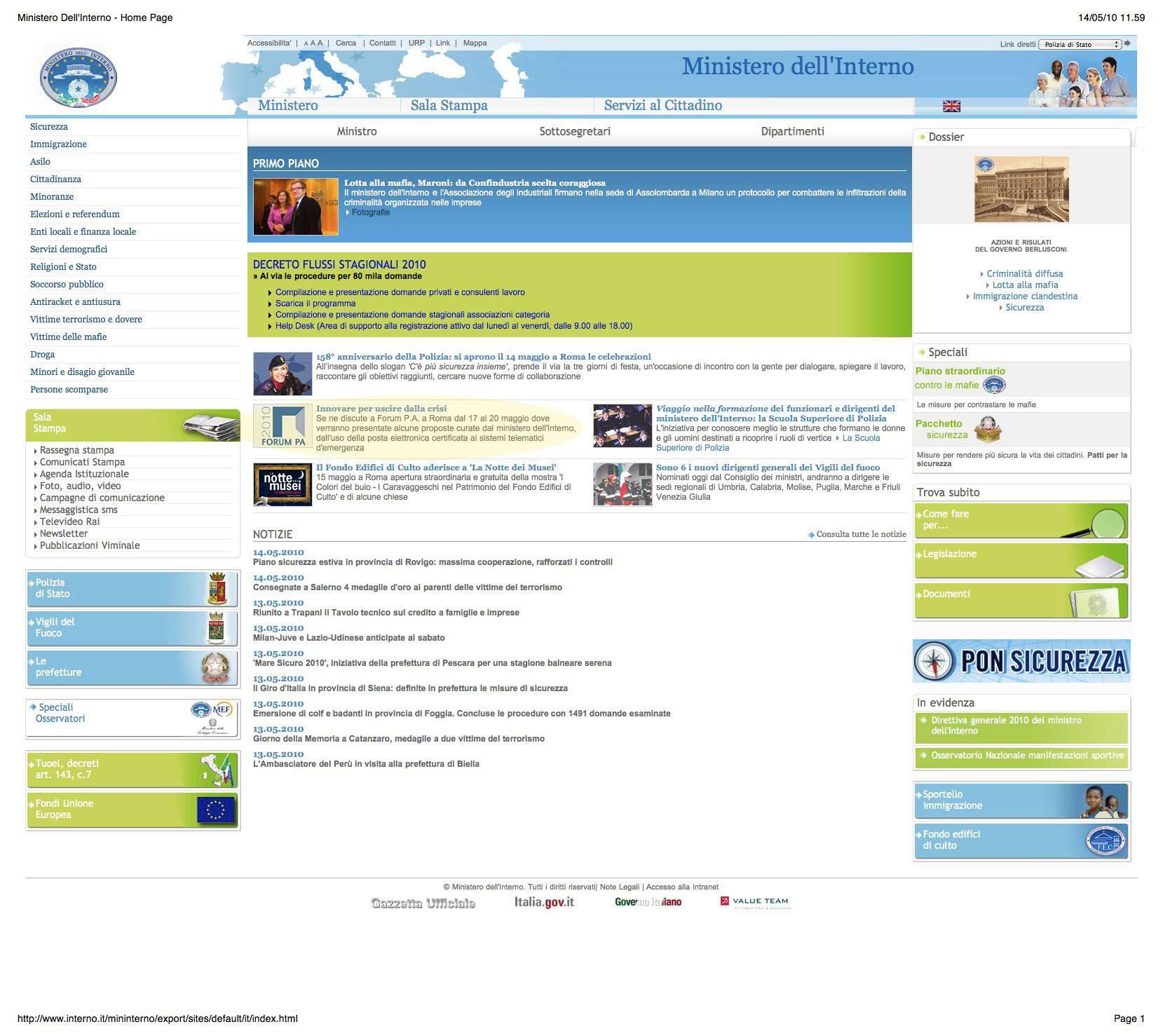 Uil ministero interno autos weblog for I ministero interno