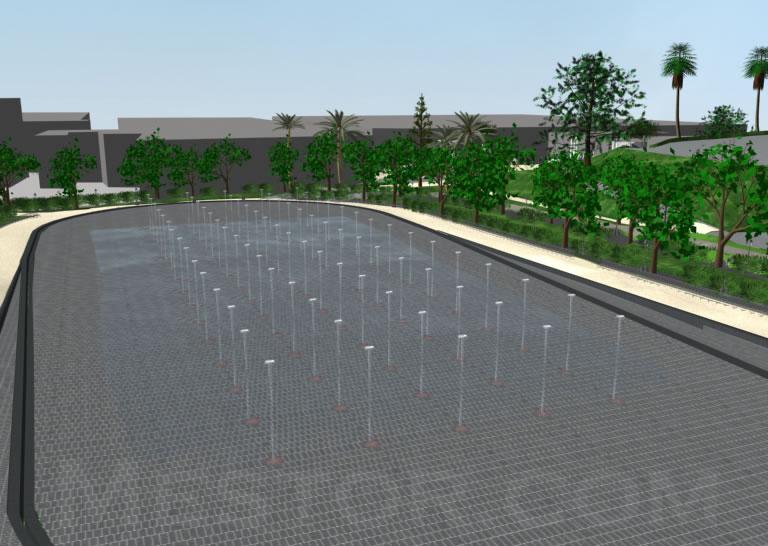 Giochi di acqua nel piazzale di pietra
